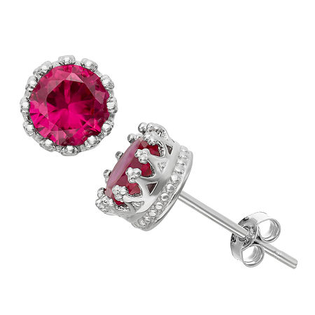 Lab-Created Ruby Sterling Silver Earrings, One Size , No Color Family