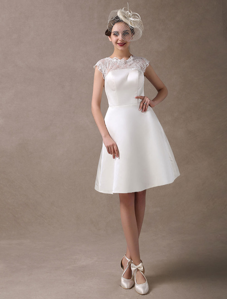 Milanoo Knee-Length Ivory Reception Wedding Dress with A-Line Sheer Lace