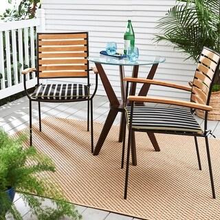 Sunbrella Shore Classic Indoor/ Outdoor Chair Pad Set (Set of 2) (Sunbrella Shore Classic / Cast Citrus - 19 in x 17 in)
