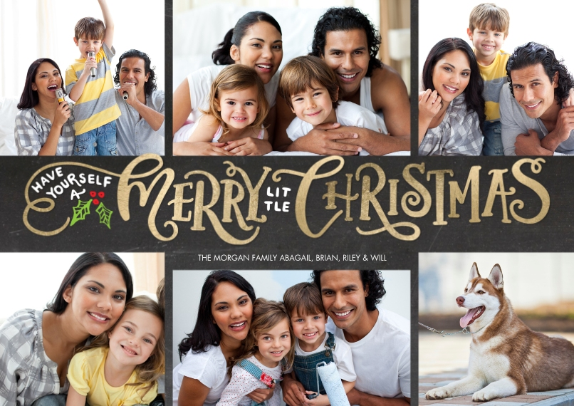 Christmas Photo Cards 5x7 Cards, Premium Cardstock 120lb, Card & Stationery -Christmas Gold Letters by Tumbalina