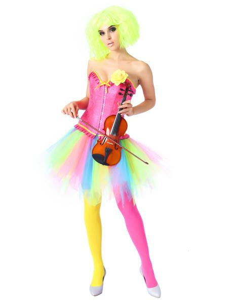 Milanoo Women Corset Dress Lace Up Overbust Corset Rainbow Mini Skirt Halloween Two Piece Set
