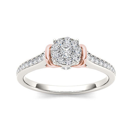 1/3 CT. T.W. Diamond 10K Two-Tone Gold Engagement Ring, 9 , No Color Family