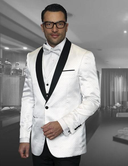 Mens Polk Dot Tuxedo Suit Shawl Lapel Two Toned Vested Suits White