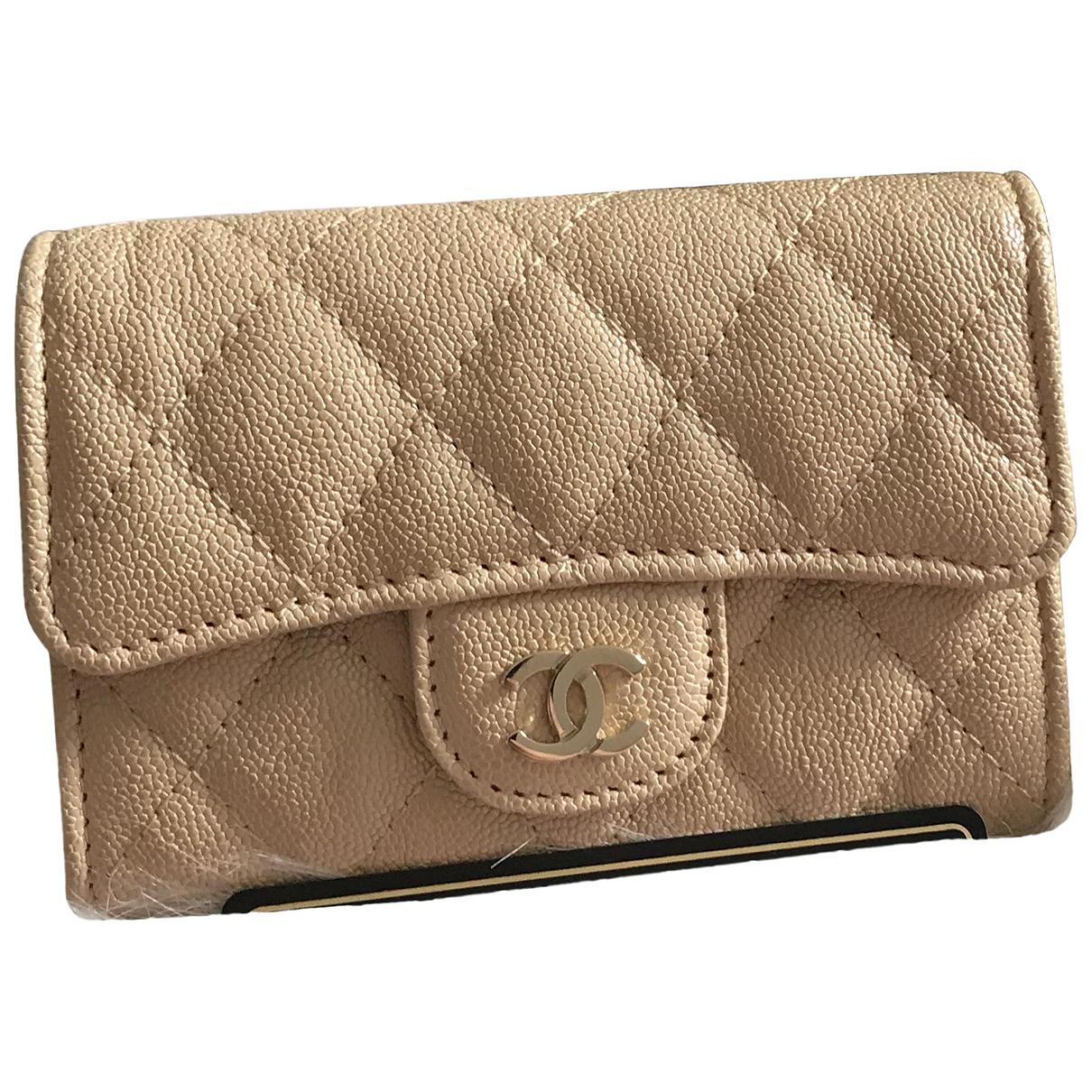 Chanel - Petite maroquinerie Timeless/Classique pour femme en cuir - beige
