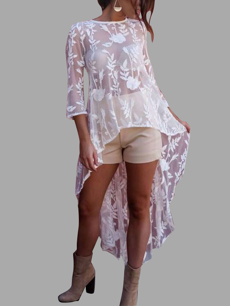 Yoins White See-through Floral Lace Irregular Hem Dress