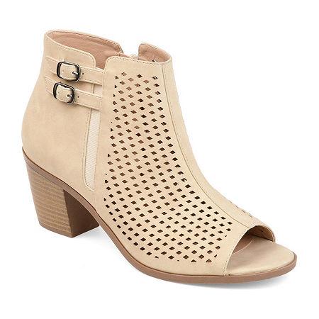 Journee Collection Womens Harlem Booties Stacked Heel, 7 Medium, White