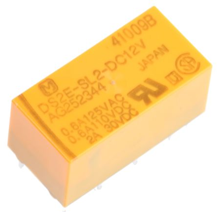 Panasonic DPDT PCB Mount Latching Relay - 3 A, 12V dc For Use In Telecommunications Applications