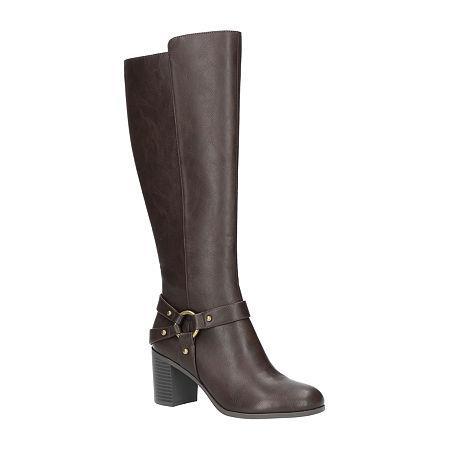 Easy Street Womens Franconia Booties Block Heel, 10 Wide, Brown
