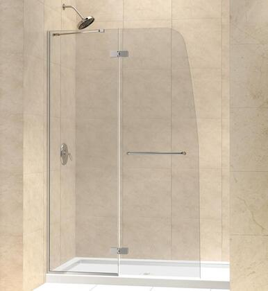 SHDR-3445720-04 Aqua Ultra 45 In. W X 72 In. H Frameless Hinged Shower Door In Brushed
