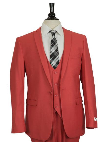 Men's Red Slim Fit Single Breasted 1 Button Vested Suit
