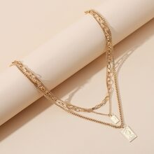 Figure Geometric Layered Chain Necklace