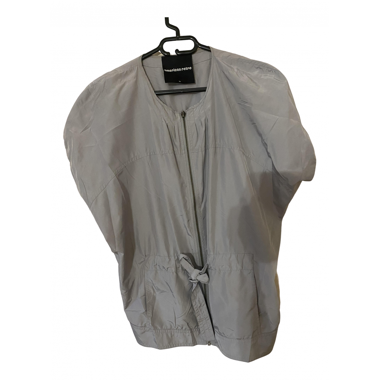 American Retro \N Lederjacke in  Grau Polyester