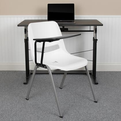 RUT-EO1-WH-RTAB-GG Rut-Eo1-Wh-Rtab-Gg White Ergonomic Shell Chair With Right Handed Flip-Up Tablet