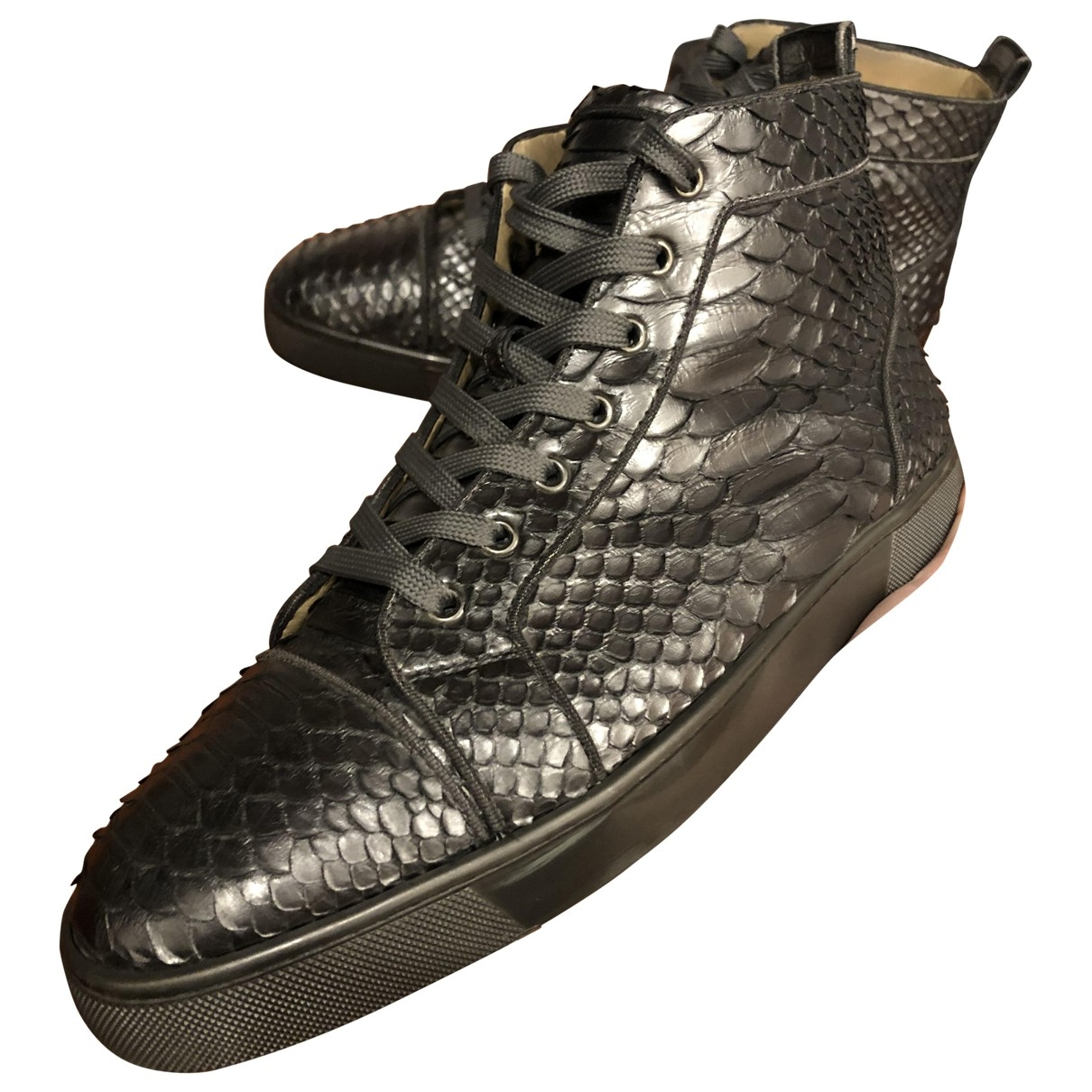 Christian Louboutin Louis Sneakers in  Anthrazit Python
