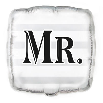 Wedding Foil Balloon Silver Mr. Square Shape 18
