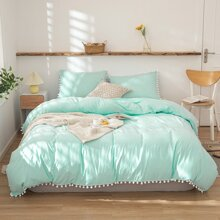 Pom Pom Decor Solid Bedding Set Without Filler