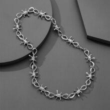 Maenner Halskette mit Dornen und Kette