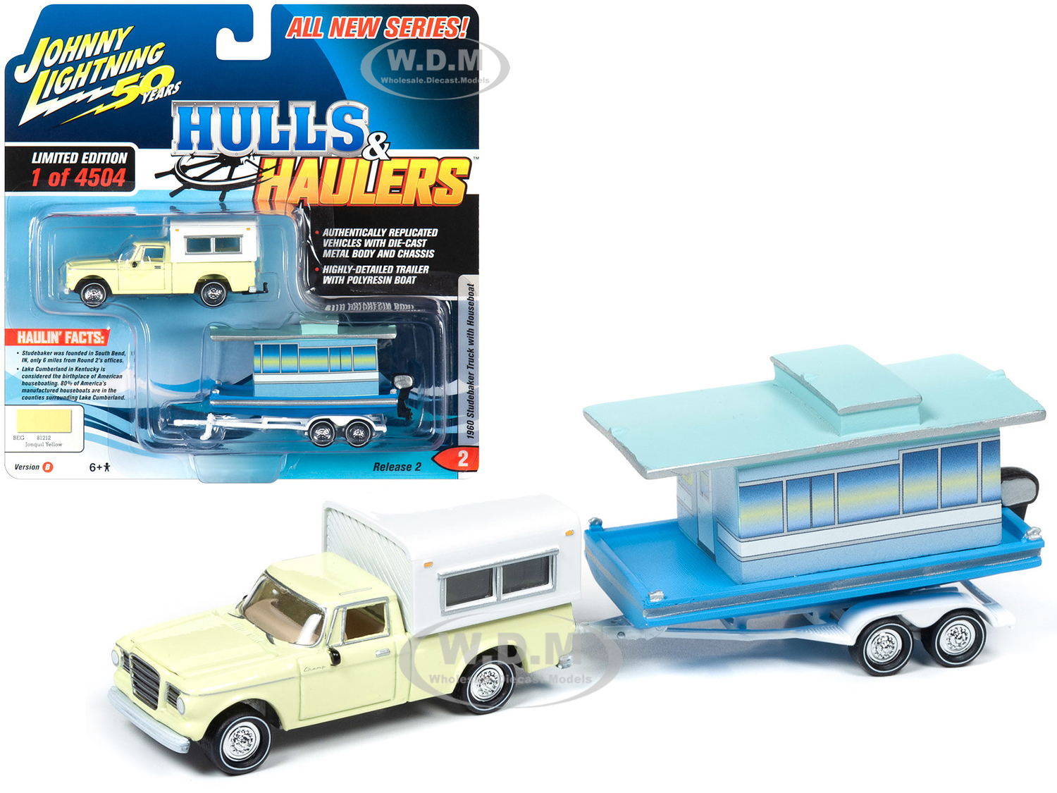 1960 Studebaker Pickup Truck with Camper Shell Jonquil Yellow with Houseboat Limited Edition to 4504 pieces Worldwide