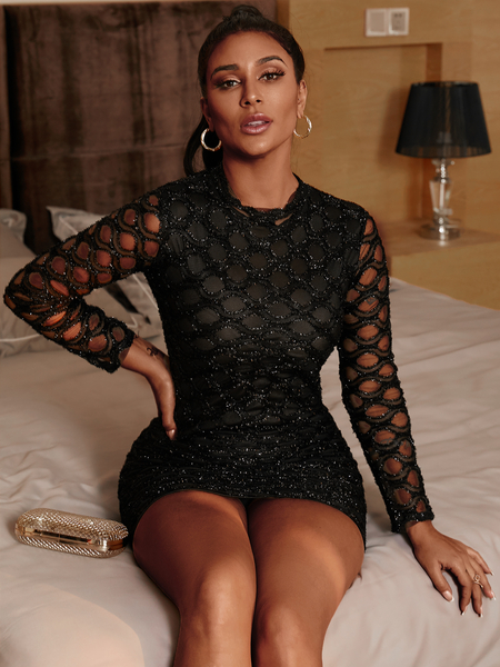 Yoins Black Hollow Design Long Sleeves Sparkling Dress