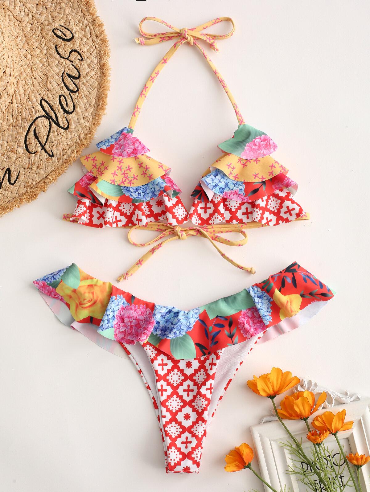 Halter Floral Sexy Bikinis Cake Triangle String Women Swimwear By Newchic