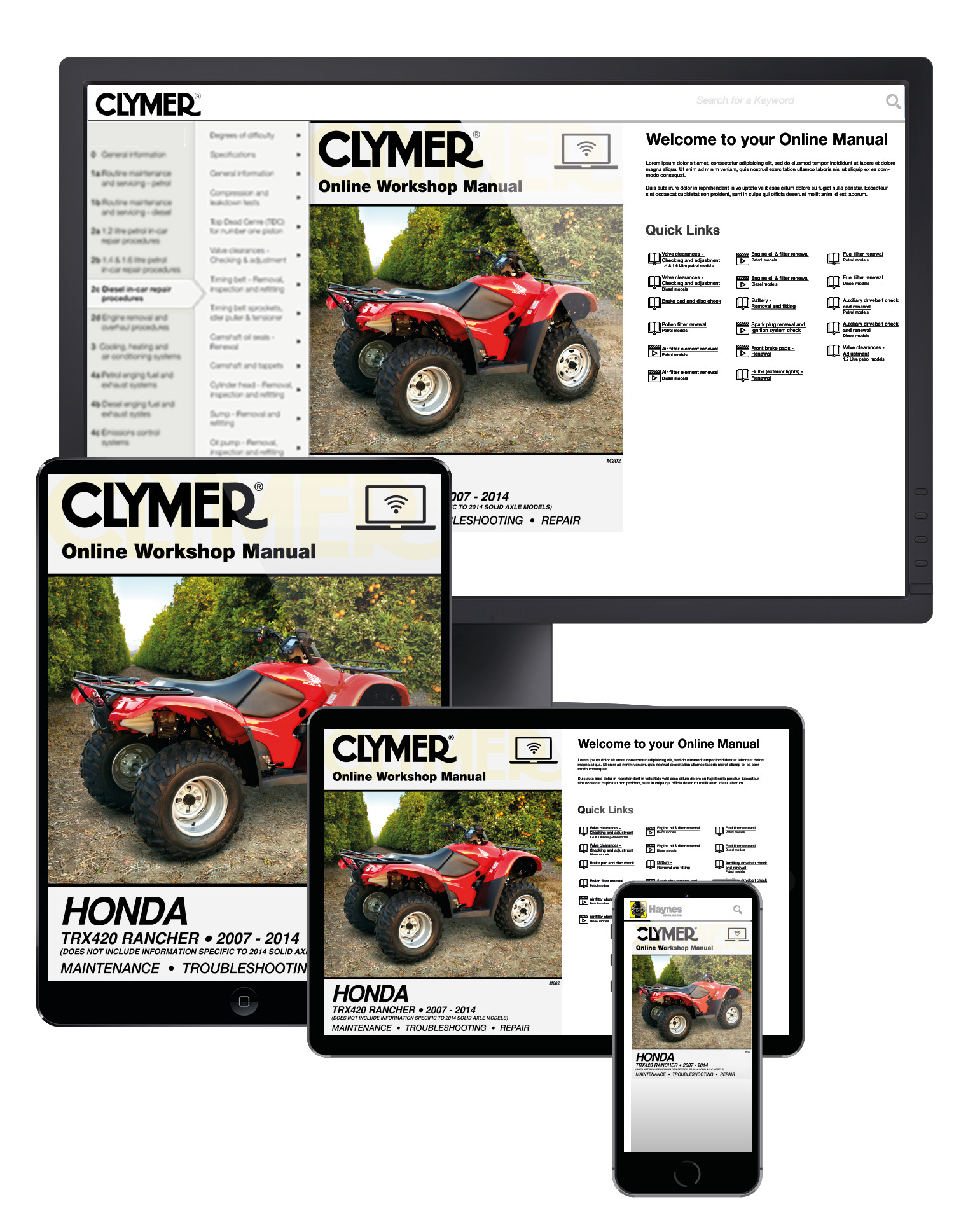 Honda TRX420 Rancher ATV (2007-2014) Service Repair Manual Online Manual