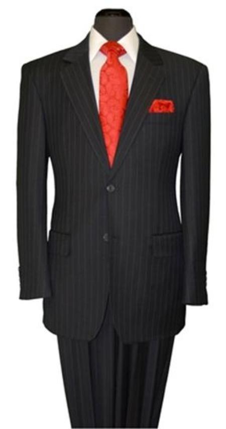 Mens Two Button Black Stripe Suit