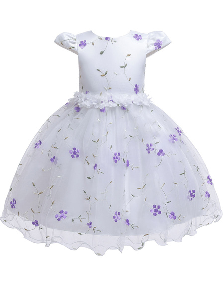 Milanoo Baby Flower Girl Dresses Princess Knee Length Embroidery Dresses