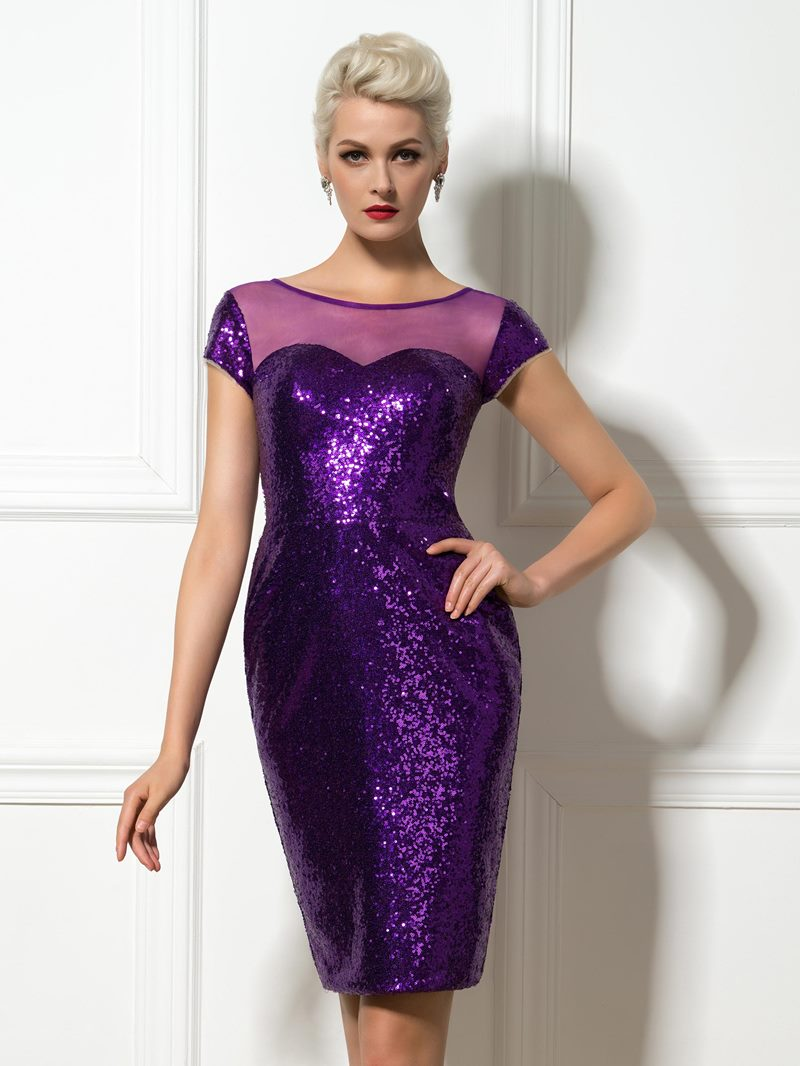 Ericdress Sequins Sheer Neck Sheath Cocktail Dress