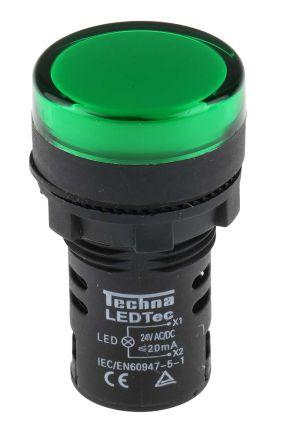RS PRO , Panel Mount Green LED Pilot Light, 22mm Cutout, IP65, 24 V ac/dc