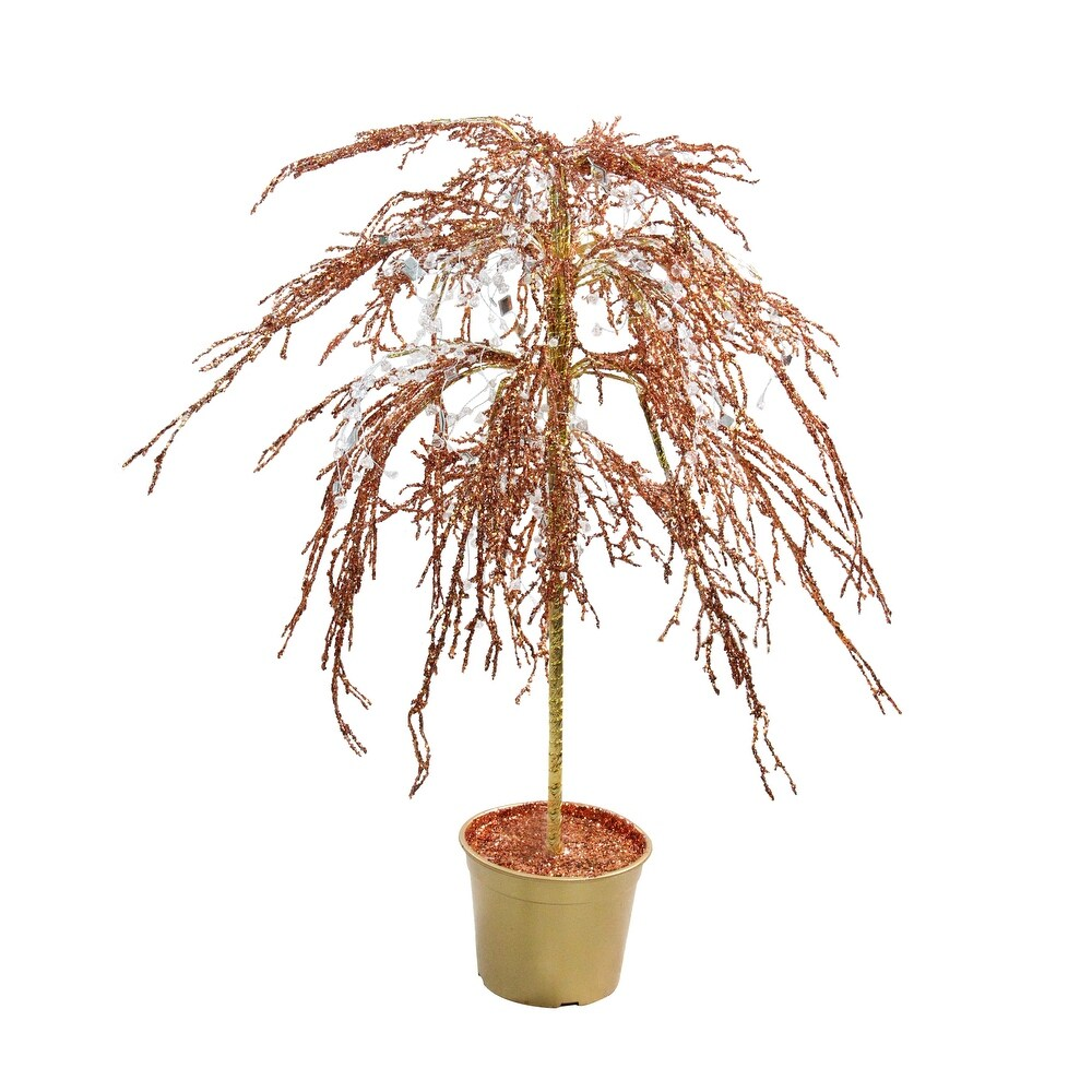3.8' Potted Crystallized Glitter Full Artificial Christmas Tree - Unlit - 3.5 Foot (Brown - Plastic)