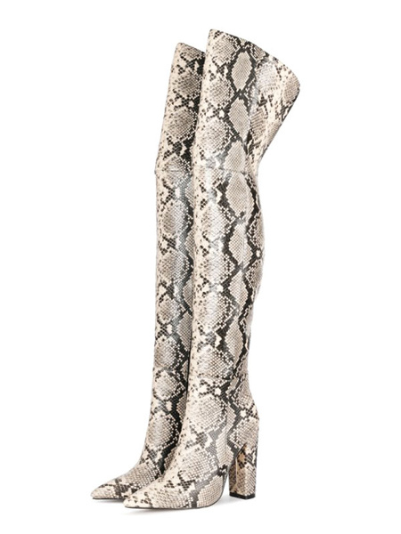 Milanoo Over The Knee Boots PU Leather Pink Pointed Toe Snake Print Chunky Heel Thigh High Boots