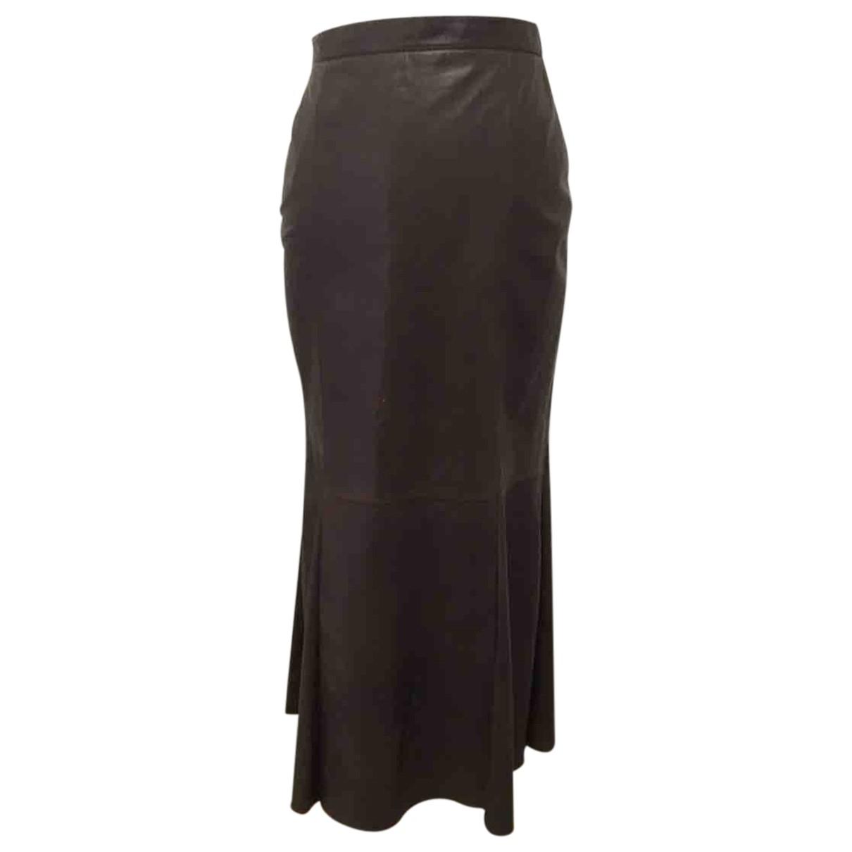Unknown - Jupe   pour femme en cuir - marron