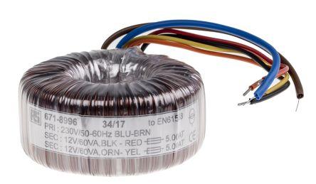RS PRO 230V ac, 2 x 12V ac Toroidal Transformer, 120VA 2 Output