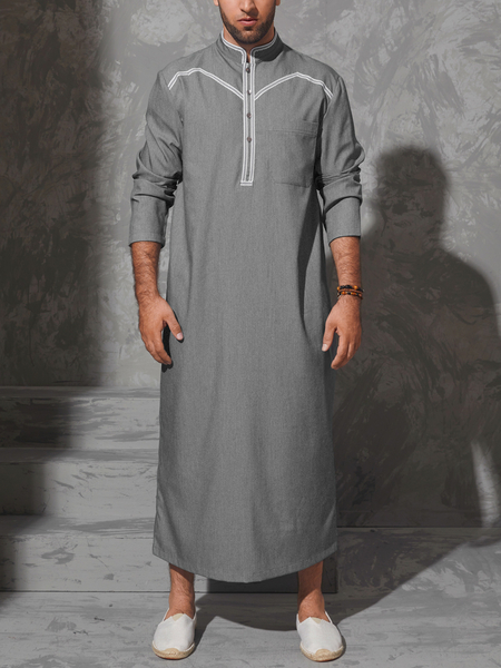 Yoins Men Casual Autumn Ethnic Style Stand Collar Plain Long Length Shirt