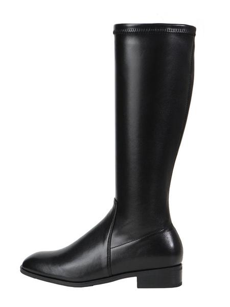 Milanoo Women\'s Mid Calf Boots Black Square Toe PU Leather Upper Rubber Sole