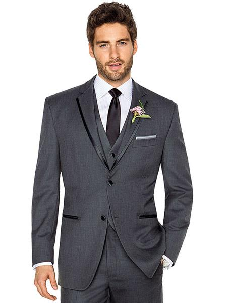 Men's 2 Buttons Charcoal Grey ~ Gray Tuxedo 2 Button Style Trim Vested