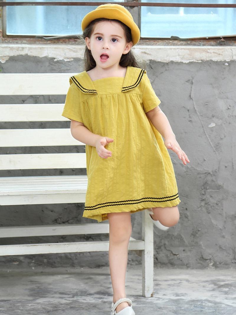 Ericdress Stripe Button A-Line Girl's Casual Dress