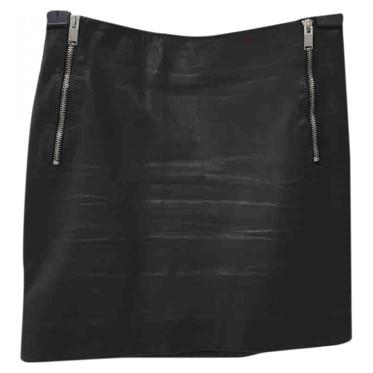 Saint Laurent \N Black Leather skirt for Women 34 FR