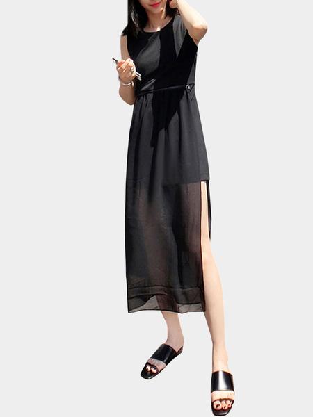 Yoins Black Chiffon Overlay Sleeveless Dress