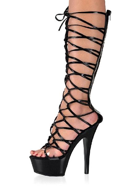 Milanoo Botas sexy de mujer con punta abierta, tacon de aguja, tacon de aguja, zapatos negros de stripper