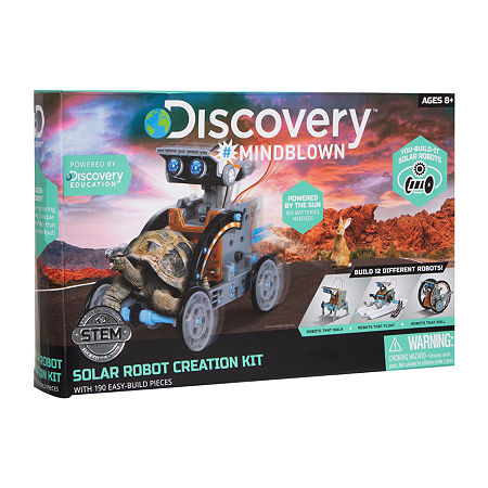 Discovery Kids Mindblown STEM 12-in-1 Solar Robot Creation 190-Piece Kit with Working Solar Powered Motorized Engine and Gears, One Size , Multiple Co