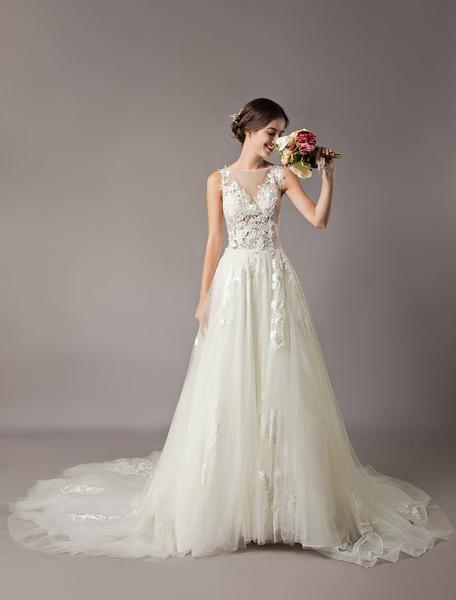 Milanoo Wedding Dresses Ivory Lace Applique Tulle Illusion Chapel Train Bridal Dress
