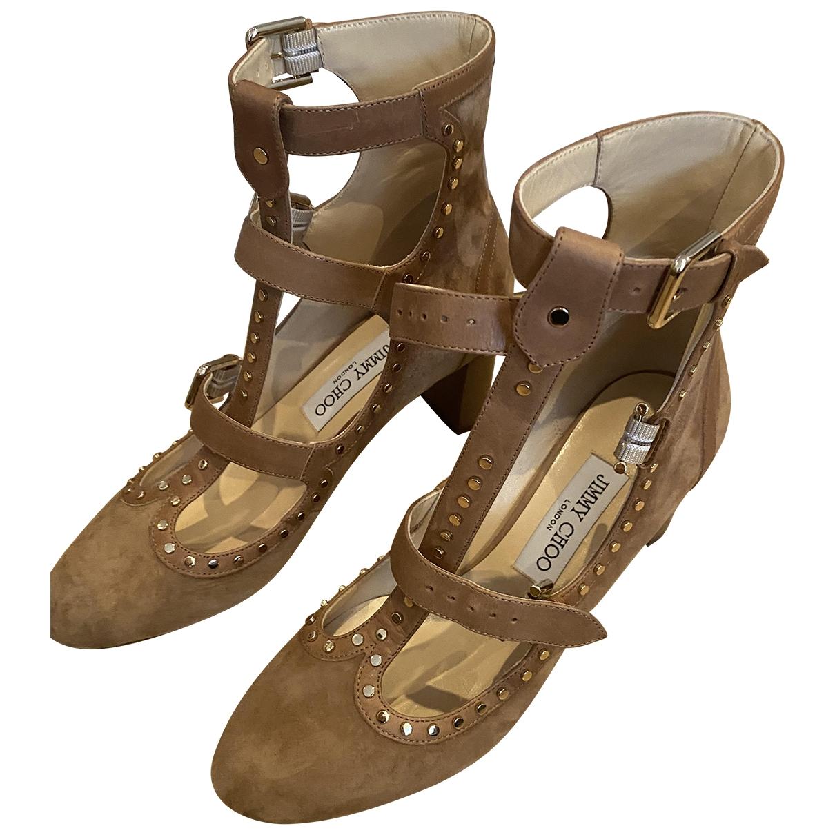 Jimmy Choo - Boots   pour femme en suede - camel
