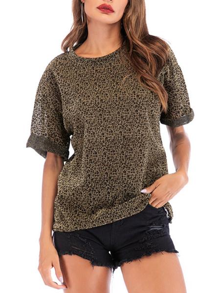 Milanoo Camisetas de manga corta con estampado de leopardo y estampado de leopardo con cuello joya para mujer