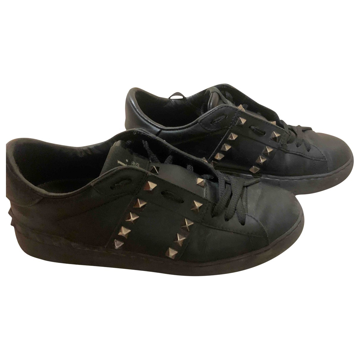 Valentino Garavani Rockstud Black Leather Trainers for Women 37.5 EU