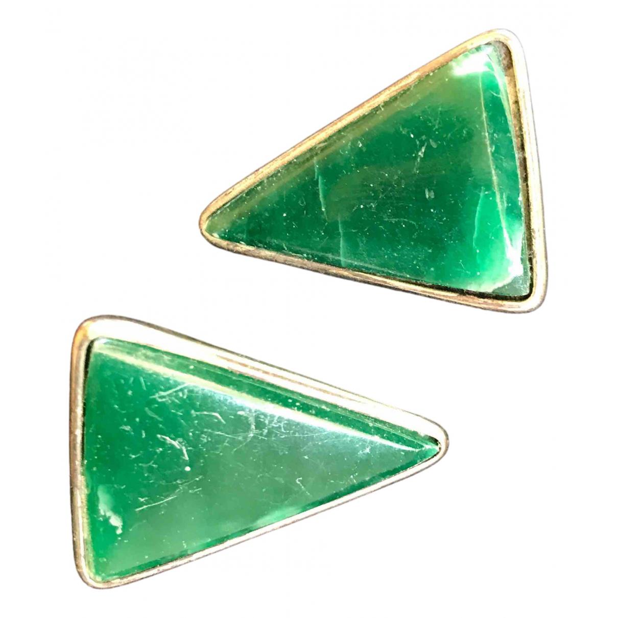 - Boucles doreilles Agate pour femme en metal - vert