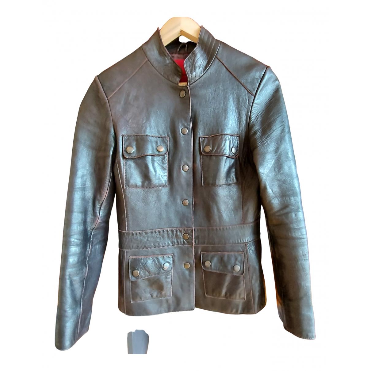 John Rocha N Brown Leather Leather jacket for Women 36 FR