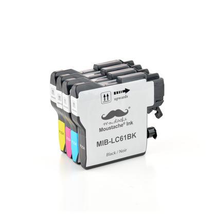 Compatible Brother DCP-J125 cartouches encre bk/c/m/y de Moustache, ensemble de 4 paquet