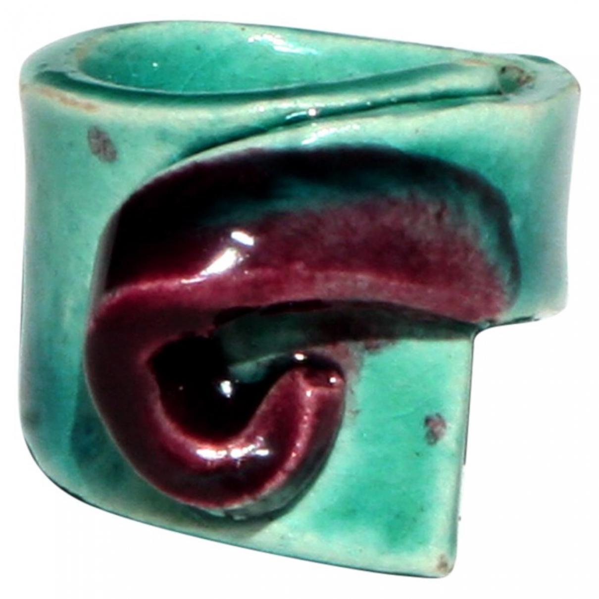Non Signe / Unsigned \N Ring in  Blau Keramik