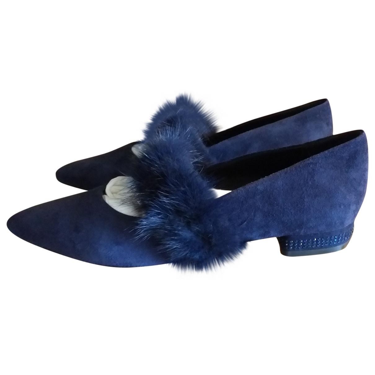 Non Signe / Unsigned \N Ballerinas in  Blau Veloursleder